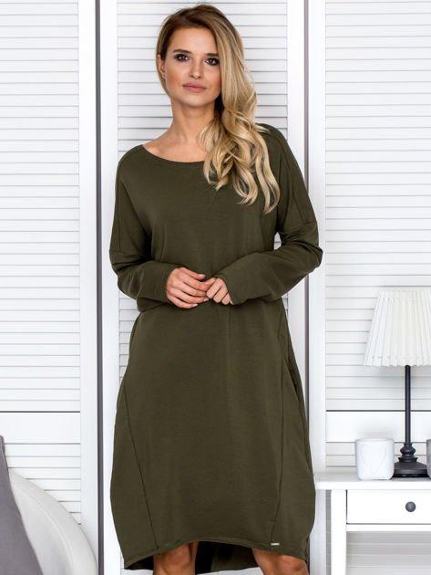 Sukienka damska dresowa o luźnym kroju khaki                              zdj.                              1