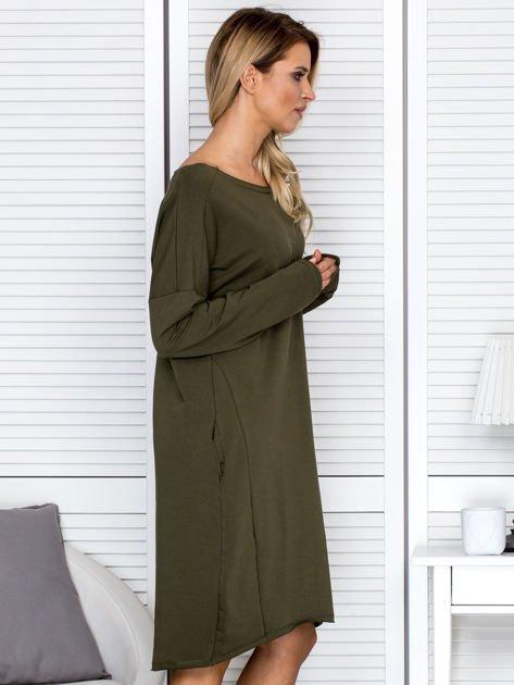 Sukienka damska dresowa o luźnym kroju khaki                              zdj.                              3