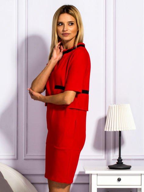 Sukienka damska z kieszeniami czerwona                              zdj.                              3