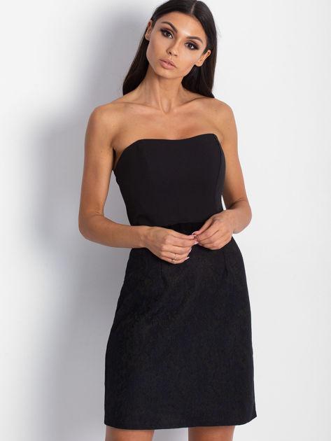 Sukienka damska z koronkowym modułem czarna