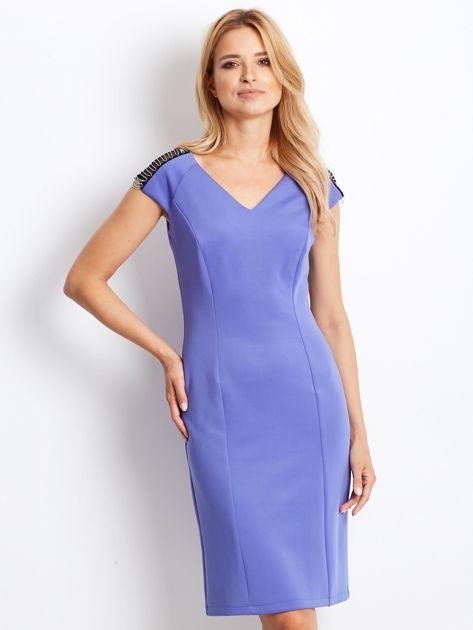 Sukienka damska z łańcuszkami na ramionach jasnoniebieska                               zdj.                              1