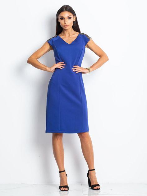Sukienka damska z łańcuszkami na ramionach kobaltowa                               zdj.                              4