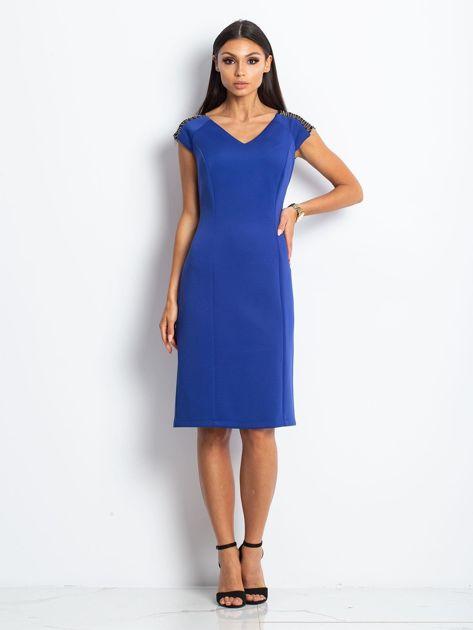 Sukienka damska z łańcuszkami na ramionach kobaltowa                               zdj.                              1
