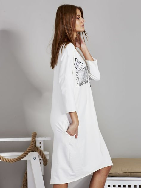 Sukienka damska z napisem z dżetów ecru                              zdj.                              5