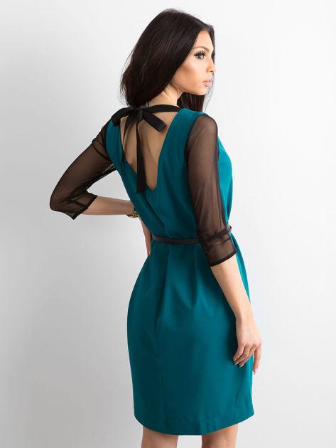 Sukienka damska z transparentnymi rękawami zielona                              zdj.                              2
