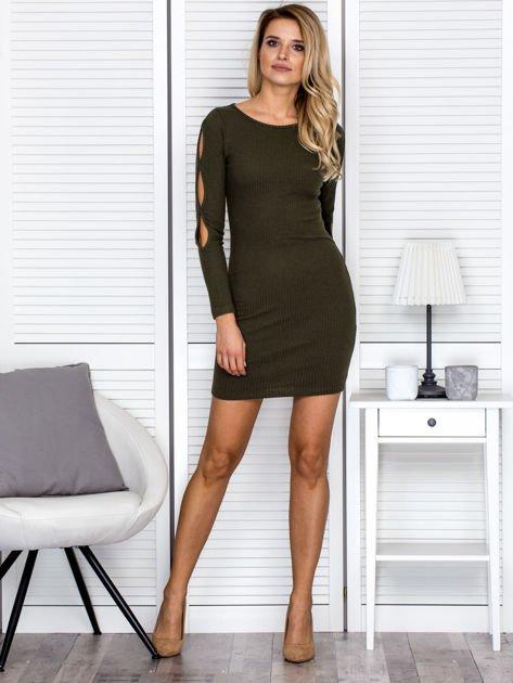 Sukienka damska z wycięciami na rękawach w prążek khaki                              zdj.                              4