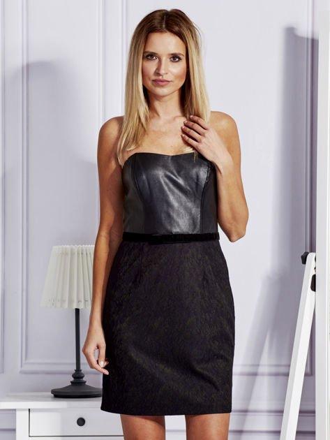 Sukienka damska ze skórzanym modułem i koronką czarna                              zdj.                              1