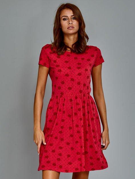 Sukienka dzienna z nadrukiem w kwiatki czerwona                                  zdj.                                  2