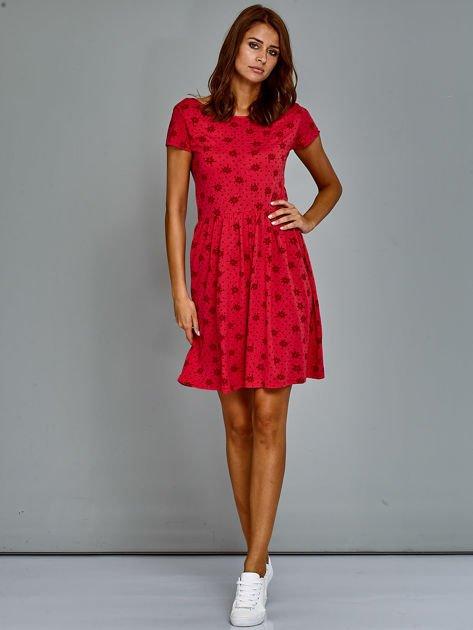 Sukienka dzienna z nadrukiem w kwiatki czerwona                                  zdj.                                  4