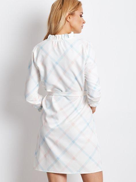 Sukienka ecru w delikatną kratę                              zdj.                              2