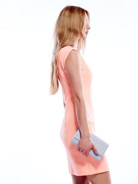 Sukienka fluo pomarańczowa z wiązaniem z tyłu                              zdj.                              3