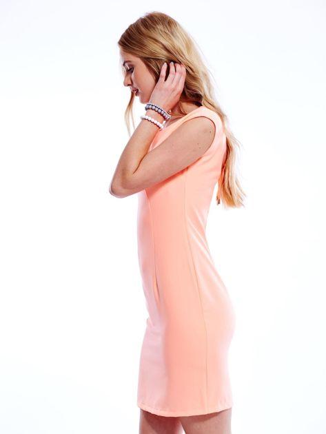 Sukienka fluo pomarańczowa z wiązaniem z tyłu                              zdj.                              6