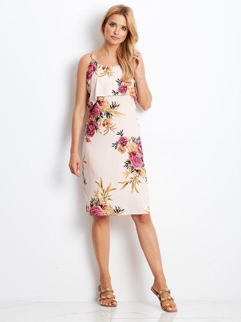 Sukienka jasnoróżowa w kolorowe kwiaty                              zdj.                              4