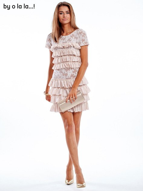 Sukienka jasnoróżowa z falbanami BY O LA LA                               zdj.                              6