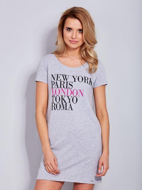 Sukienka jasnoszara bawełniana z nazwami miast                                  zdj.                                  2