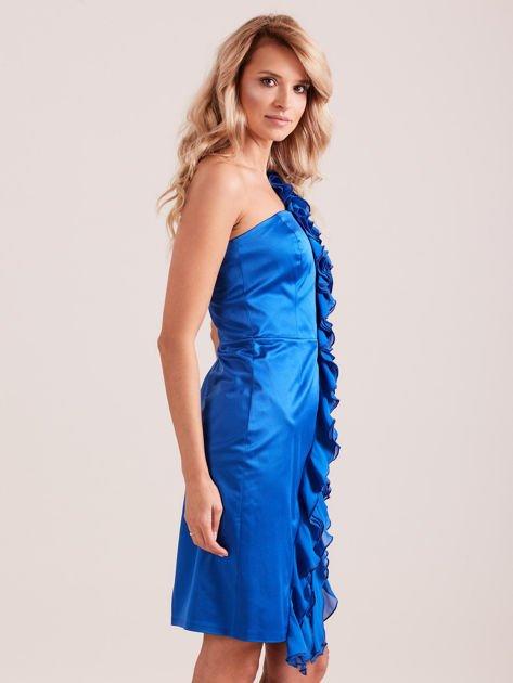 Sukienka koktajlowa na jedno ramię kobaltowa                              zdj.                              2