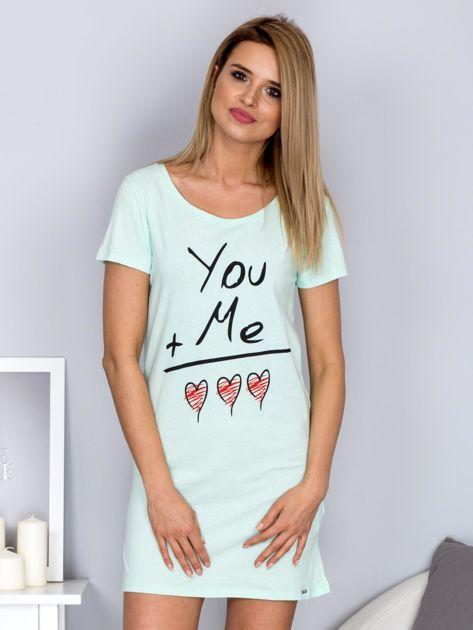 Sukienka miętowa bawełniana z miłosnym nadrukiem                                  zdj.                                  1