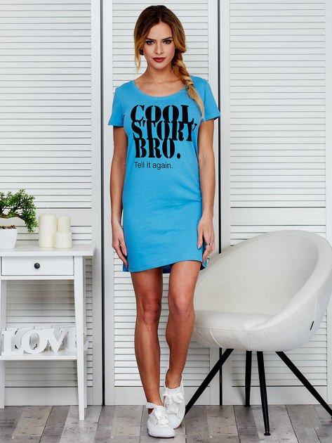 Sukienka niebieska bawełniana COOL STORY BRO                              zdj.                              4