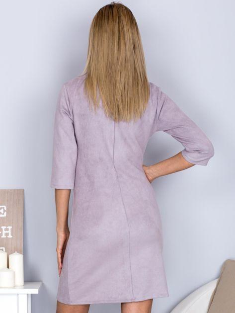 Sukienka o zamszowej fakturze szara                                  zdj.                                  2