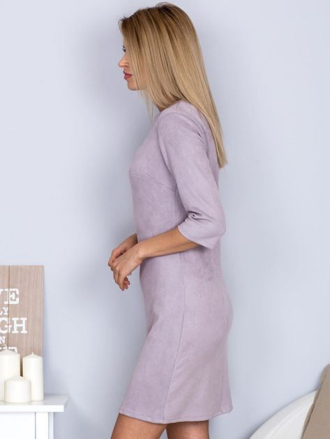 Sukienka o zamszowej fakturze szara                              zdj.                              3