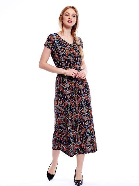 Sukienka w geometryczne wzory maxi                              zdj.                              1