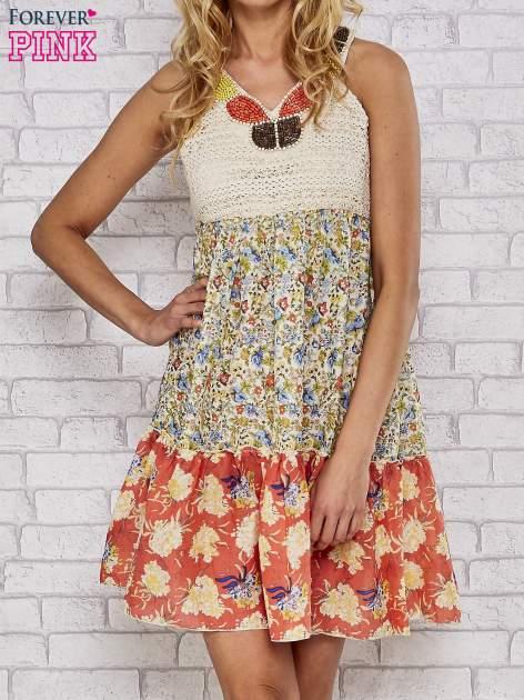 Sukienka w łączkę z dekoltem z koralików                                  zdj.                                  1