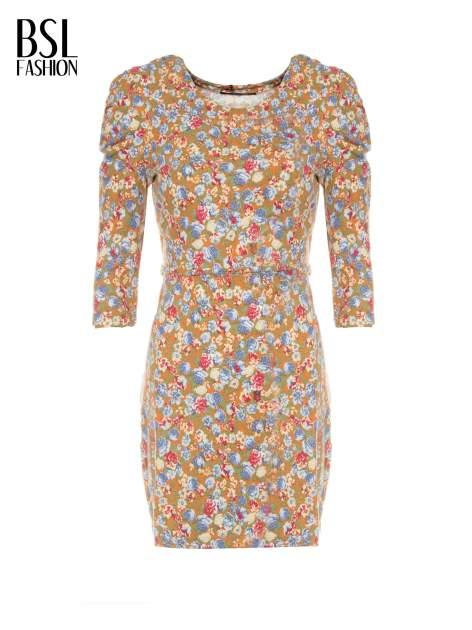 Sukienka w łączkę z marszczonymi rękawkami                                  zdj.                                  5