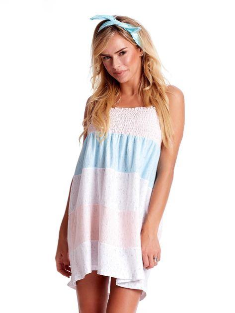 Sukienka w szerokie kolorowe paski                              zdj.                              1