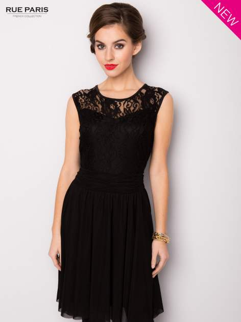 Sukienka z aplikacją z czarnej koronki i rozkloszowanym dołem                                  zdj.                                  2