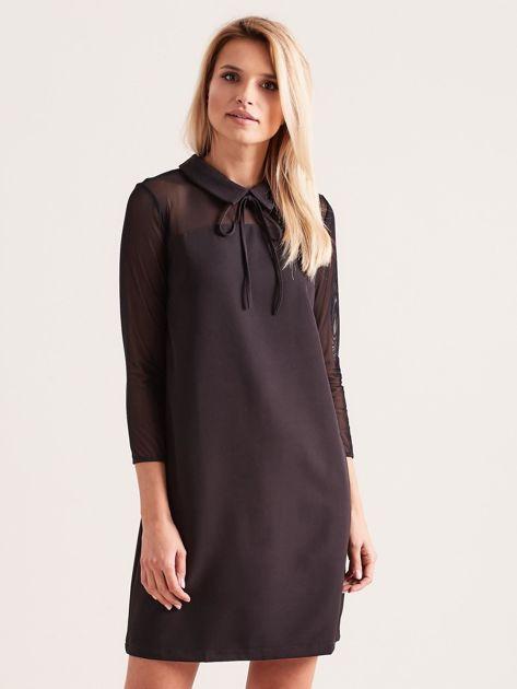 Sukienka z kołnierzykiem czarna                              zdj.                              1