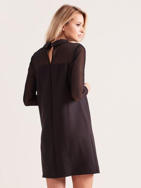 Sukienka z kołnierzykiem czarna                              zdj.                              2