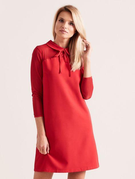 Sukienka z kołnierzykiem czerwona                              zdj.                              1