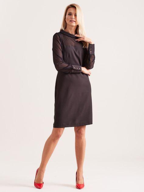 Sukienka ze stójką czarna                               zdj.                              4