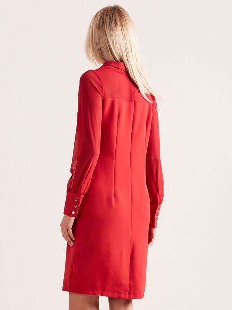 Sukienka ze stójką czerwona                               zdj.                              2