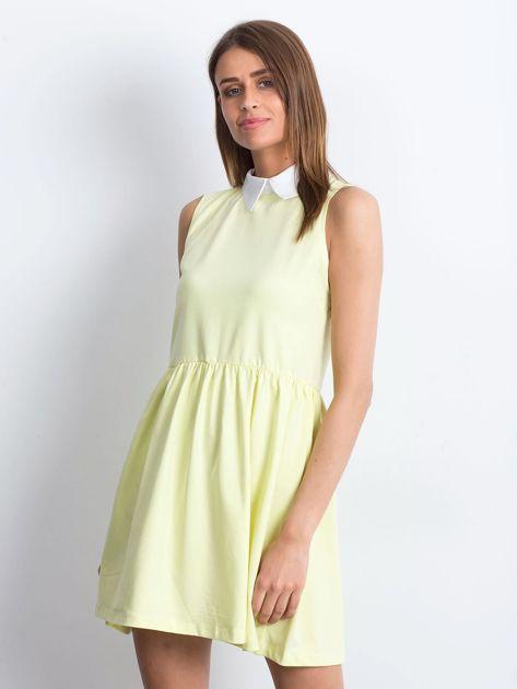 Sukienka żółta z kołnierzykiem                              zdj.                              3