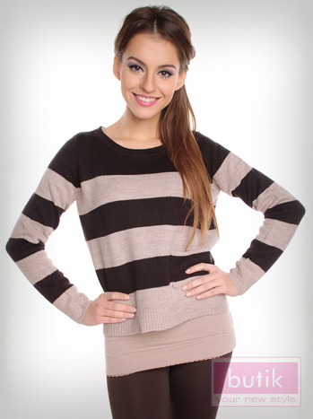 Sweter w paski                                  zdj.                                  3