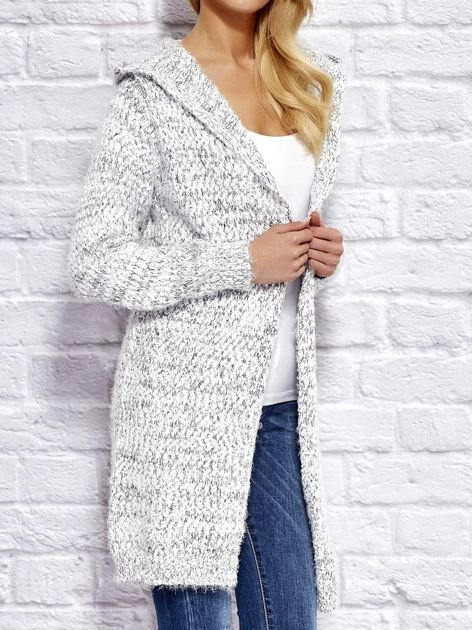 Sweter z melanżowym wzorem biało-ciemnoszary                                  zdj.                                  3