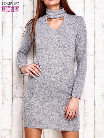 Sweterowa sukienka z wycięciem szara                                  zdj.                                  1