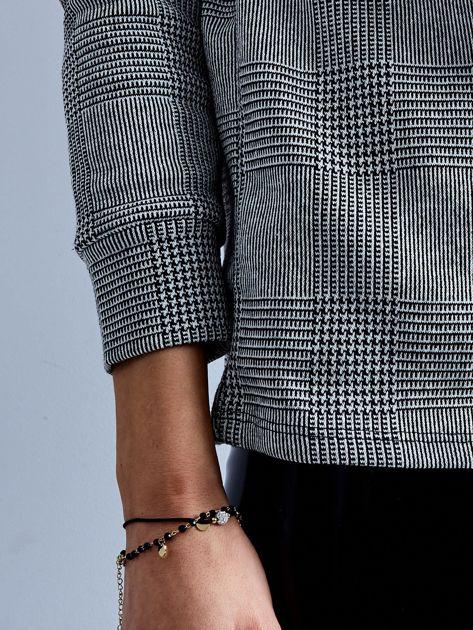Szara bluza V-neck w kratę                              zdj.                              7