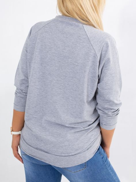 Szara bluza plus size Vacay                              zdj.                              2