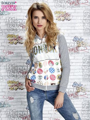 Szara bluza z kapturem i napisem HONOUR                                  zdj.                                  4