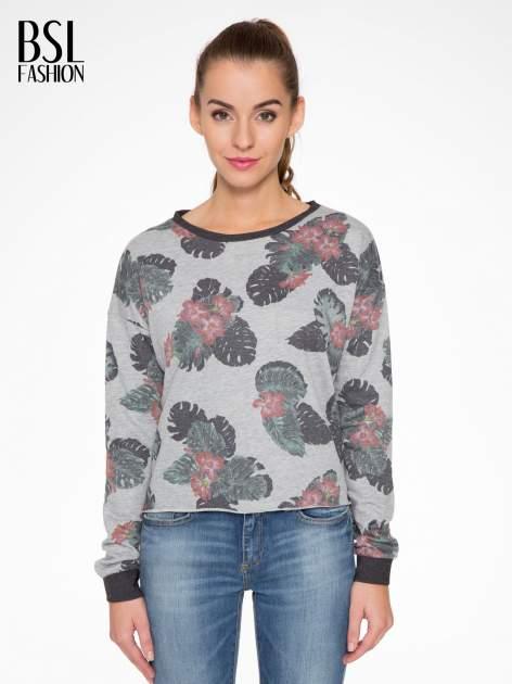 Szara bluza z nadrukiem floral print                                  zdj.                                  1