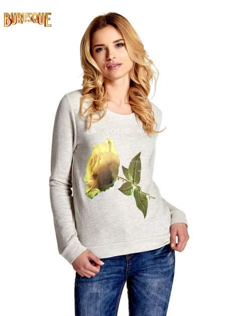 Szara bluza z nadrukiem róży