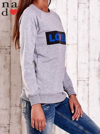 Szara bluza z napisem LOVELY                                  zdj.                                  3