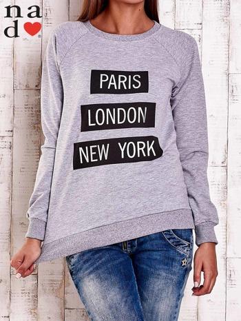 Szara bluza z napisem PARIS LONDON NEW YORK