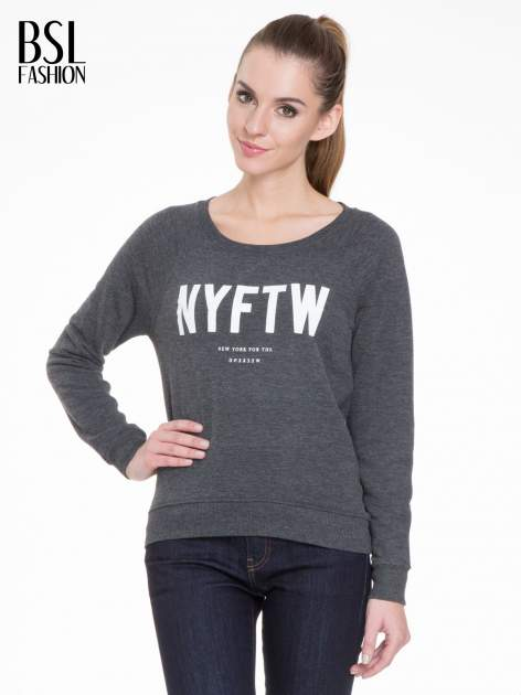 Szara bluza z reglanowymi rękawami i napisem NYFTW                                  zdj.                                  1