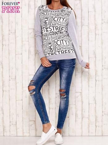 Szara bluza z tekstowym nadrukiem                                  zdj.                                  4
