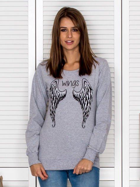 Szara bluza ze skrzydłami