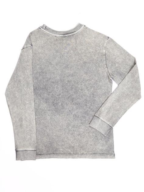 Szara bluzka dla chłopca z nadrukiem                               zdj.                              2