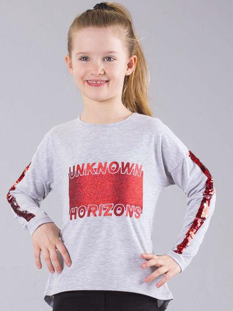 Szara bluzka dziewczęca z brokatem i cekinami